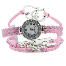 Layered Braided Leather Watch in Love Charm Pink Arabic numbers Wristwatch
