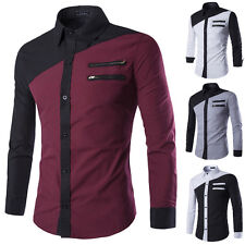Mens Luxury Long Sleeve Shirt Casual Slim Fit Stylish Dress Shirts Tops Hot Sale