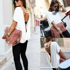 Fashion Women Summer Loose Casual Backless Vest Shirt Tops Blouse Ladies Tops NU