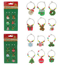 Set of 6 Mixed Christmas Bead Rubber Wine Glass Charms Alloy Hoops Table Markers