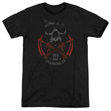 Sons Of Anarchy Cross Guns Mens Adult Heather Ringer Shirt Black