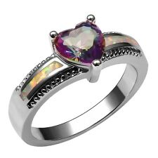 Rose Rainbow Topaz Gemstone White Fire Opal Silver Filled Ring Size 6 7 8 9 10