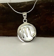 Sterling Silver Mother of Pearl Zodiac Sign Scorpio Pendant and Chain Necklace