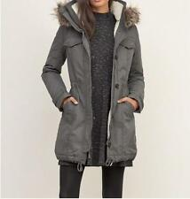 NEW Woman's L Abercrombie & Fitch Sherpa Lined Military Grey Parka Hooded Coat