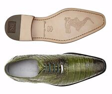 Belvedere Mens shoes Edo 100% Genuine Crocodile Antique Emerald Lace Up 1630 New