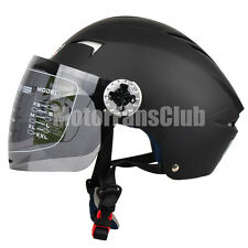 Summer Motorcycle Open Face Half Helmet Full Face Visor Shield M-XL Matte Black