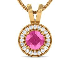 Pink Sapphire Real GH SI Diamonds Round Halo Gemstone Pendant Women 18K Gold