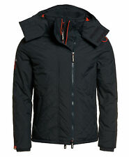New Mens Superdry Quilted Hoodieed Polar Windcheater Charcoal