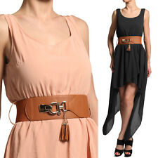 MOGAN Sleeveless Round Neck High Low Sexy Party Cocktail Dress With Belt