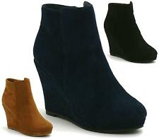 Womens High Heel Wedges Ankle Boots Zip Platform Casual Ladies Shoes Size 3-8