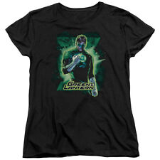 Justice League Green Lantern Brooding Womens Short Sleeve Shirt Black