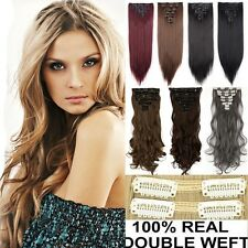 Real Thick Clip In Hair Extensions Long New Straight Curly Full Head 8 Piece 3HF