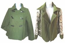 new OLD NAVY Green pea Jacket Coat style TOGGLES button SMALL Wool Blend Coat