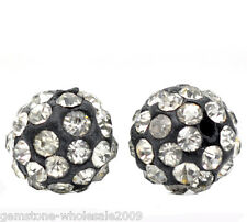 Wholesale Lots Black Clear Rhinestone Round Polymer Clay Ball Beads 10mm Dia