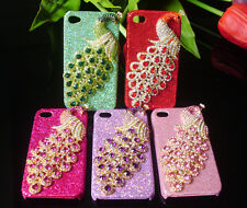 3D Rhinestone peacock Bling Hard Case Cover For Apple iPhone & Samsung phone