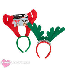 PACK OF 2 REINDEER ANTLERS ON HEADBAND CHRISTMAS FANCY DRESS OFFICE XMAS PARTY