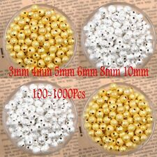 1000Pcs Silver Gold Copper Bronze PLATED Ball Spacer Beads 3/4/5/6/8/10MM