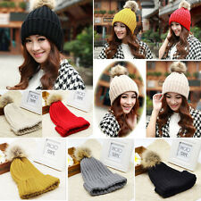 Winter Fashin Lovely Knitted Hat Faux Fur Ball Ski Beanie Caps Outdoor Warm Hats