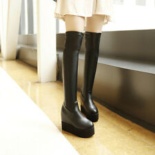 Womens Knee High Boots Wedge Hidden Heel Platform Shoes Ladies Knight Boots New