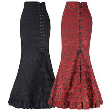 Hot Women's Vintage Gothic Victorian Fishtail Skirt Steampunk Long Mermaid Dress