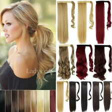 Lady Wrap Around Ponytail Hair Piece Pony Tail Hair Extensions Curly Straight WK
