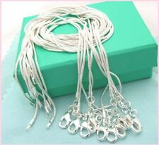 Free shipping wholesale 5PCS sterling solid silver 1MM snake chain necklace16-O9