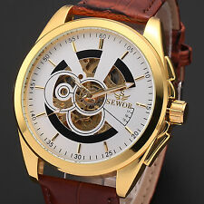 Mens Fashion Gold Case Skeleton Brown Leather Automatic Mechanical Wrist Watch
