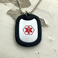 Medical Alert ID DOG TAG & Silver Plated or BALL Chain Necklace & FREE ENGRAVING