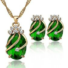 Water Drop Crystal Earrings & Pendant Necklace 18k Rose Gold Chain Jewelry Sets