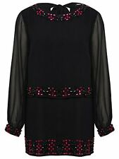 M&Co NEW Black Sheer Beaded Embellished Party Tunic Top Size 10 12 Bnwot