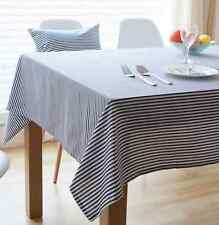 Elegant Blue White Strips Dinning Coffee Table Cotton Linen Cloth Cover T