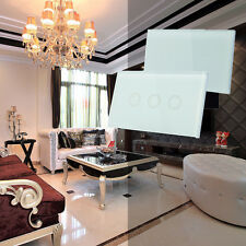 1/2/3 Gang 1 Way Smart Touch Wall Light Switch Power Crystal Glass Panel White
