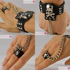 Cool Punk Leather Bracelet With Skull and Chained Ring Bangle Wristband Unisex