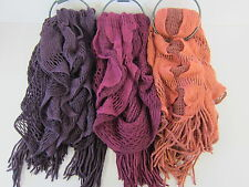 LADIES SCARF WITH A CROCHET RUFFLE DESIGN (3 COLOURS) 90736