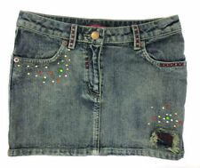 Girls Blue Denim Skirt with Diamante & Stud Detail