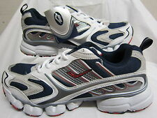 Mens Ascot White, Navy & Red Lace Up Sports Trainers Oxygen SJ520-M