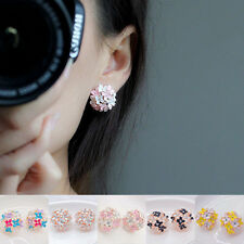 Women Lady 1 pair Elegant Flower Pearl Rhinestone Ear Stud Earrings Fashion