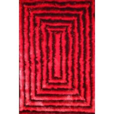 Rug Factory Plus Shaggy 3D Red/Black Area Rug