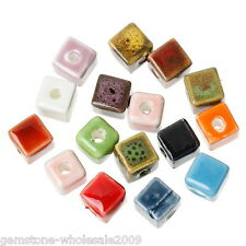 "Wholesale W09 Multi-color Ceramic Square Beads 8mm x8mm( 3/8"" x 3/8"")"