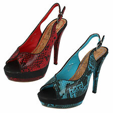 Spot-On Ladies Peep Toe Slingback Sandals With Platform Synthetic Upper F10040