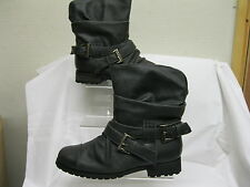 LADIES SPOT-ON ANKLE BOOT PULL ON SYNTHETIC UPPERS BLACK F5602