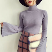 Lady Turtleneck Jumper Sweater Flare Bell Sleeve Slim Fit Pullover Knit Top