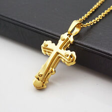 Mens Stainless Steel Cross Necklace Chain Silver/Gold Pendant Gift Lucky Jewelry
