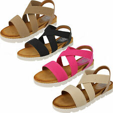 Ladies Down To Earth Slip On Elasticated Casual Sandals Style F10323