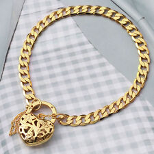 "9K Yellow Gold Filled Bracelet Solid Euro Chain With Heart Locket ""Stamp 9K"""