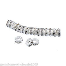 Wholesale W09 White Rhinestone Metal  Rondelle Spacer Beads 4mm