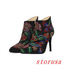 Sexy Women Lady Stiletto Heel Pointy Toe Ankle Boots Flora Side Zipper Boots New