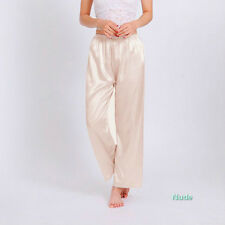 Lady Pajamas Trousers Imitated Silk Pyjamas Lingerie Sleeve Pants Nightwear Pink
