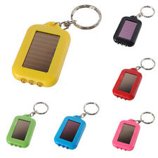 Mini LED Solar Power Rechargeable Flashlight Keychain Torch Light Ring Holders