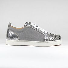 Auth Christian Louboutin Silver Louis Junior CALF Leather Spikes Sneakers BNIB